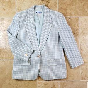 Pendleton Houndstooth Blazer Womens Petite 10 Wool